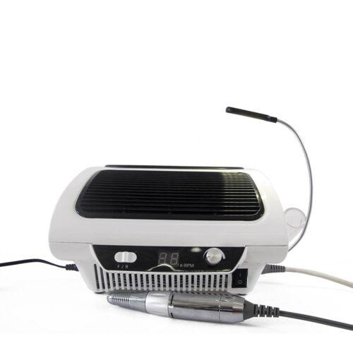 macchinario digitale nail art con aspiratore e fresa integrata, manipolo, bianco e nero, lcd