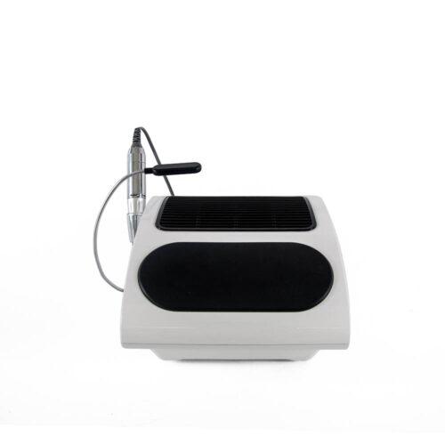 macchinario nail art con aspiratore e fresa integrata, vista posteriore, nero con filtro hepa e bianco