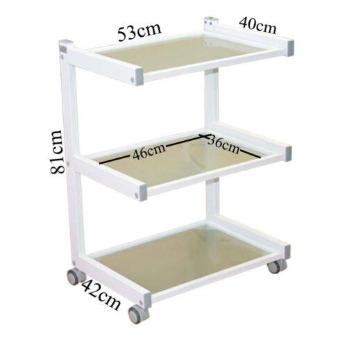 carrello per estetista bianco con misure, 3 ripiani in vetro temperato