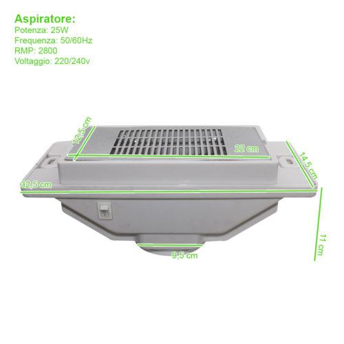 aspiratore per tavoli da manicure con griglia, misure tecniche