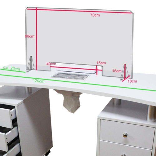 pannello plexiglass anti-sputo per estetica, per tavolo con aspiratore unghie