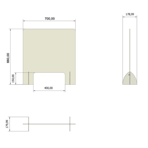 misure pannello plexiglass da tavolo e scrivania, con foro mani