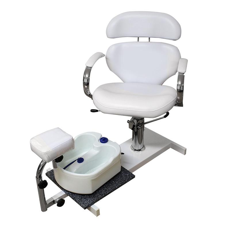 poltrona da pedicure, spa 100a, di colore bianco, regolabile in altezza, schienale reclinabile, con vaschetta bianca