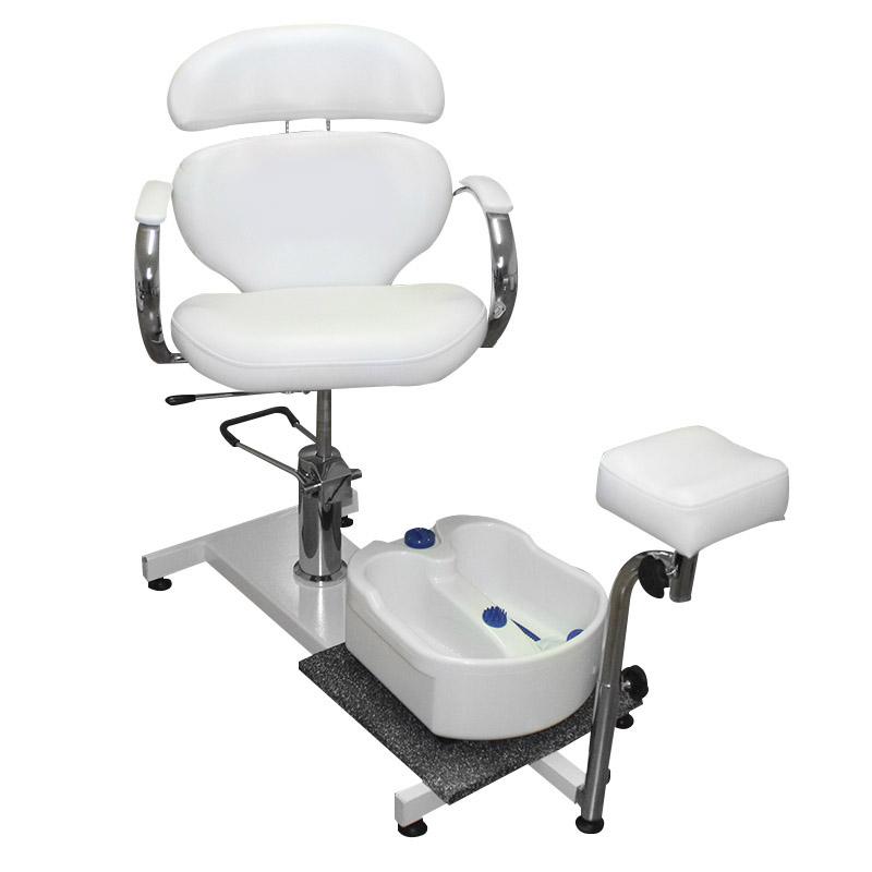 poltrona da pedicure, spa 100a, di colore bianco, regolabile in altezza, schienale reclinabile