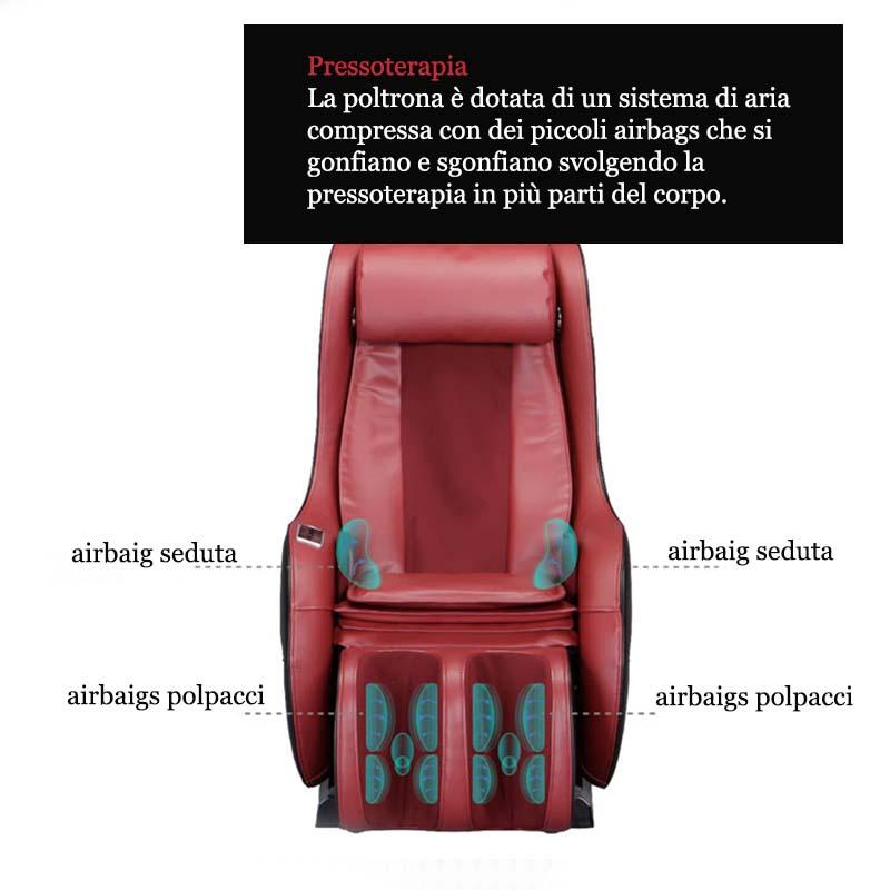 Poltrona Massaggiante Shiatsu - pressoterapia su seduta e polpacci