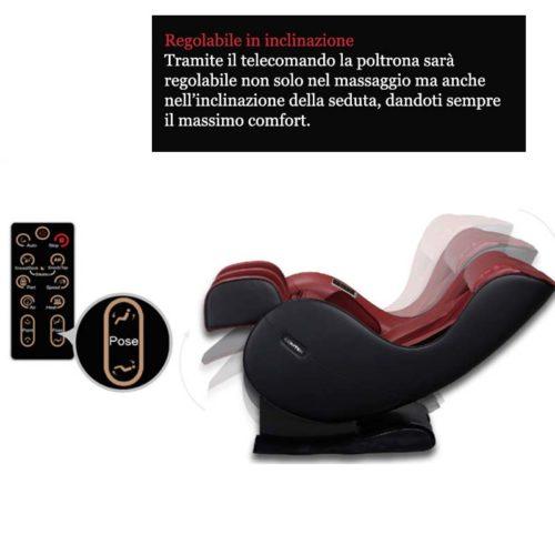 tramite il telecomando, la poltrona sarà regolabile sia nel massaggio che nell'inclunazione
