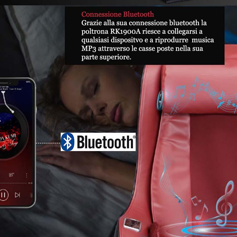 la poltrona possiede un sistema bluetooth per connettere vari dispositivi