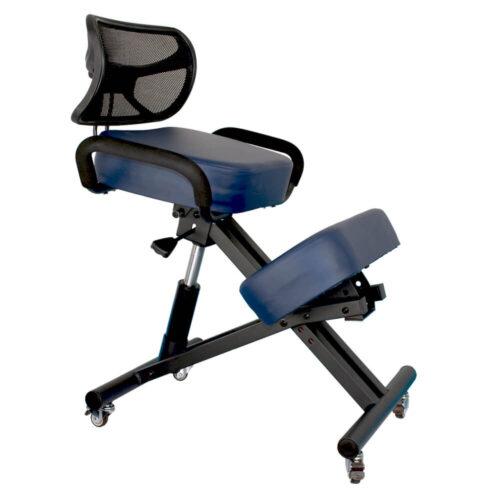sedia ergonomica con struttura color nero e imbottiture blu petrolio