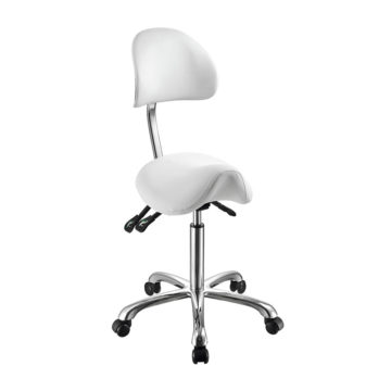 sgabello ergonomico 1025a, regolabile, sella di cavallo, bianco