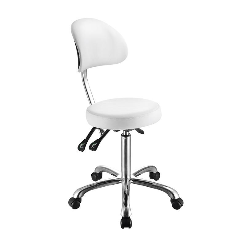 sgabello ergonomico 1025b,regolabile, bianco, seduta piatta, con schienale