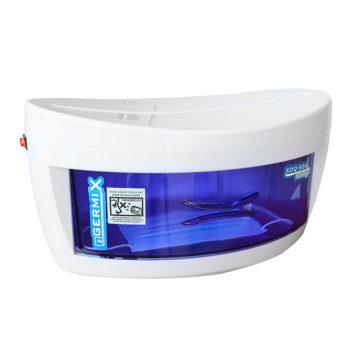 sterilizzatore a raggi uv con vaschetta blu, raggi uvc, lampada sostituibile