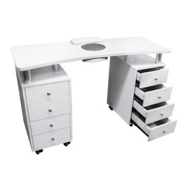 tavolo da manicure per centri estetici, con 2 cassettiere e aspira unghie da 50w