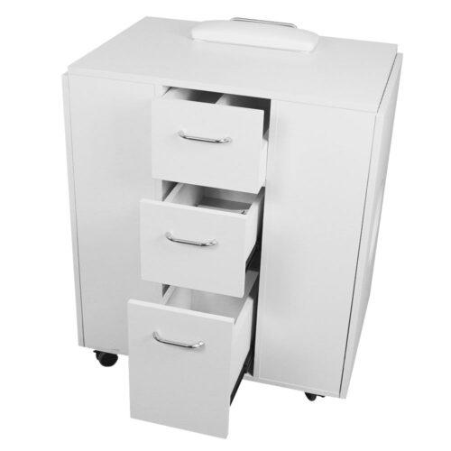 tavolo da manicure dp39, richiudibile salva spazio, solido in legno bianco, professionale con aspitore potente di qualità, chiuso
