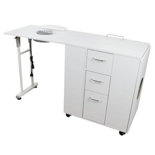 tavolo da manicure dp39, richiudibile salva spazio, solido in legno bianco, professionale con aspitore potente di qualità