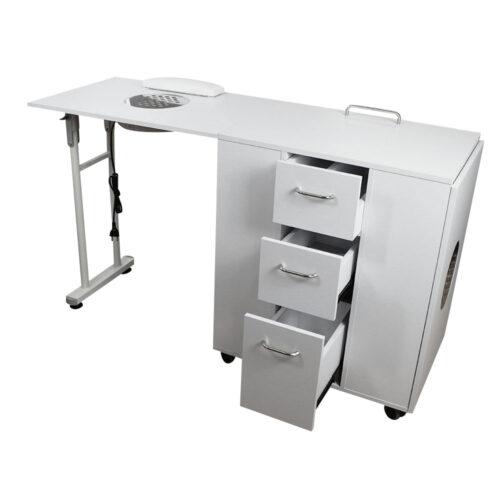 tavolo da manicure dp39, richiudibile salva spazio, solido in legno bianco, professionale con aspitore potente di qualità, con cassetti estraibili