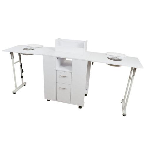 tavolo da manicure dp39, richiudibile salva spazio, solido in legno bianco, professionale con aspitore potente di qualità, doppio aspiratore