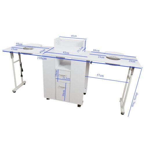 tavolo da manicure dp39, richiudibile salva spazio, solido in legno bianco, professionale con aspitore potente di qualità misure